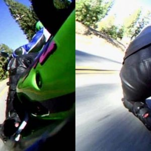 Wearing the knee pucks down, carrying speed on the ZX-9R